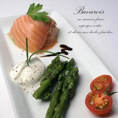 bavarois au saumon fumé, asperges et chèvre