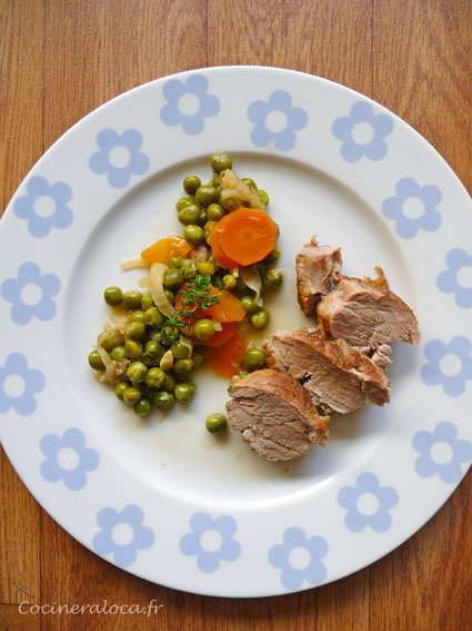 filet mignon petits pois carottes ©cocineraloca.fr