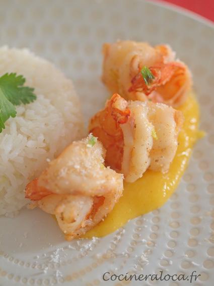 Crevettes au garam masala et crème de mangue pimentée