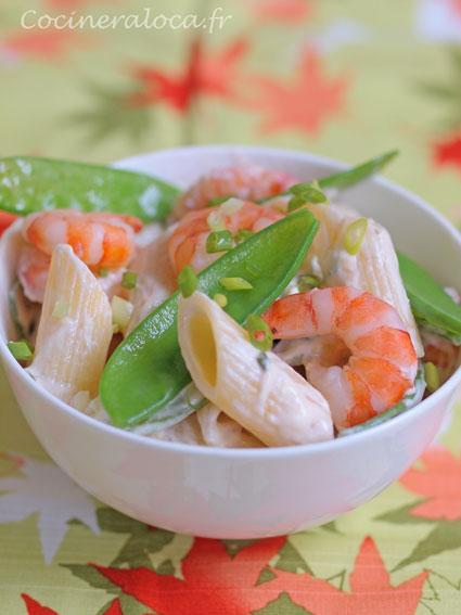 pâtes aux crevettes et pois gourmands ©cocineraloca.fr